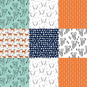 Deer Cheater Quilt - (Navy, Mint, Tangelo Orange, Slate) Wholecloth Cheater Quilt by Andrea Lauren
