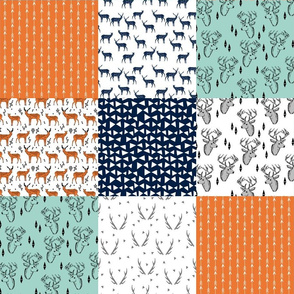 deer quilt // patchwork cheater quilt wholecloth baby quilt orange mint navy blue boys quilt nursery