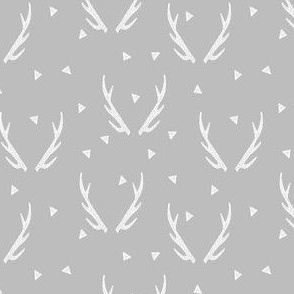 Deer Antlers - Grey and White (Deer Quilt Coordinate) by Andrea Lauren