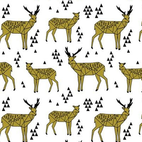 Triangle Deer - Golden Olive (Deer Quilt Coordinate) by Andrea Lauren