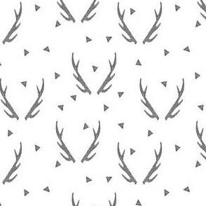 Deer Antlers - Charcoal on White (Deer Quilt Coordinate) by Andrea Lauren