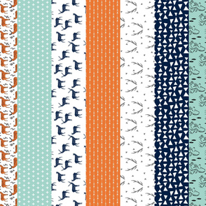 Deer Cheater Quilt - (Tangelo Orange, Mint, Navy, Slate) Wholecloth Cheater Quilt for Boys by Andrea Lauren