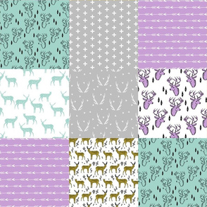 Deer Quilt Square - Wholecloth Cheater Quilt (Mint, Slate, Wisteria, Golden Olive) by Andrea Lauren