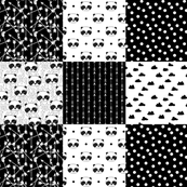Panda Quilt Squares - Black and White by Andrea Lauren