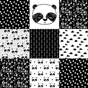 panda quilt // patchwork fake quilt panda black and white nursery baby whole cloth cheater quilt