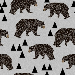 Geometric Bear - Slate Linen Look by Andrea Lauren