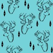 Geo Deer Head - Aqua solid by Andrea Lauren