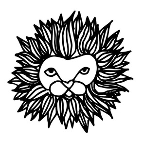 Lion Head Plush -Cut and Sew Black and White Hand-drawn lion illustration by Andrea Lauren