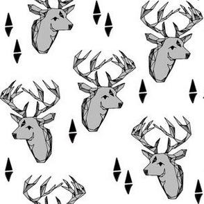 Geo Deer Head - Slate and White by Andrea Lauren