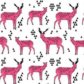 Geo Deer - Bright Pink by Andrea Lauren