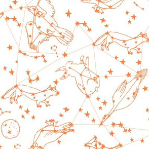 constellations // orange sky night stars bright dream animals kids nursery print