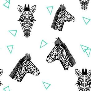 Zebras - White/Jade by Andrea Lauren