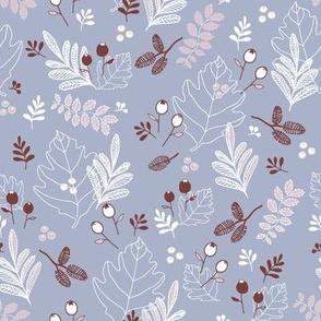 Snowberries & Little Cones - periwinkle