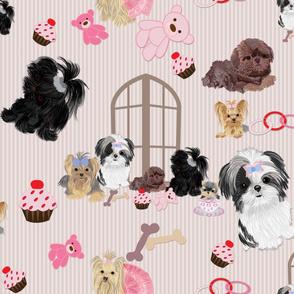 Yorkie, Black Shih tzu & puppy Window Seat Buddy Fabric
