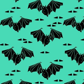 bat // geo geometric bat spooky halloween kids spooky bright green design