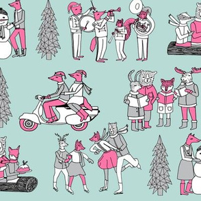 Woodland Christmas - Icy Blue, Pink and Grey by Andrea Lauren