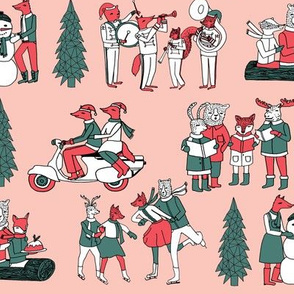 Woodland Christmas - Pink by Andrea Lauren