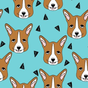 Cute Corgi Face - Aqua Blue by Andrea Lauren