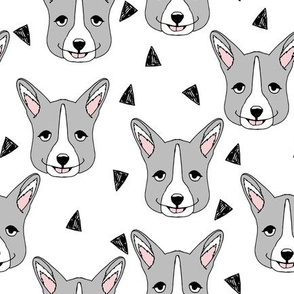 Cute Corgi Face - Grey and White by Andrea Lauren