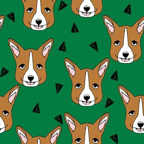 Cute Corgi Face - Kelly Green by Andrea Lauren