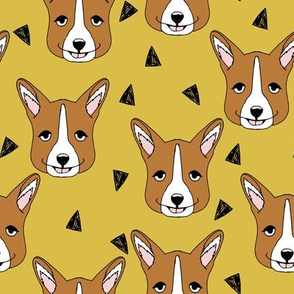 Cute Corgi Face - Mustard by Andrea Lauren