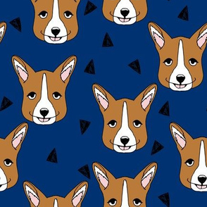 Cute Corgi Face - Navy Blue by Andrea Lauren