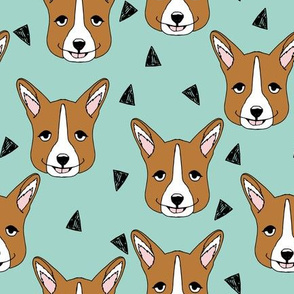 Cute Corgi Face - Pale Turquoise by Andrea Lauren