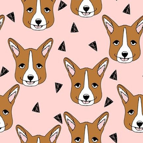 Cute Corgi Face - Rose Pink by Andrea Lauren