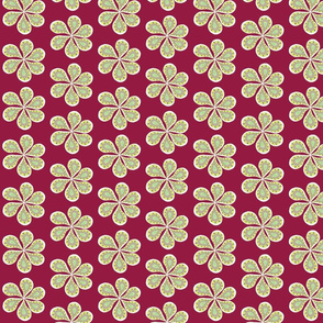 Retro Wine Red Groovy Paisley Flower Power