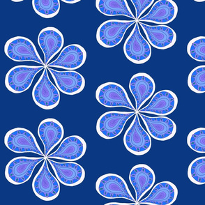 Large Groovy Navy Flower Power
