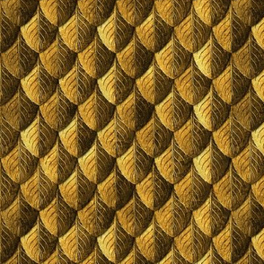 Feather Leaf Scales Armor Old Gold