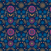 Folk Flowers - Navy