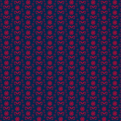 Folk Flower Row - Navy/Red