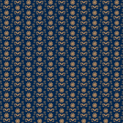 Folk Flower Row - Gold/Navy