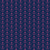 Folk Flower Row - Mauve/Navy