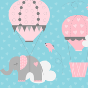 Hot Air Balloon Elephant Blue