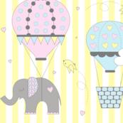 Hot Air Balloon Elephant Pastel