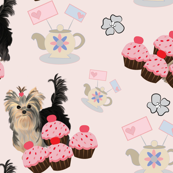 Yorkie Tea Party Matching Fabric
