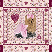 Yorkie Savannah's Pink Hearts Quilt Panel
