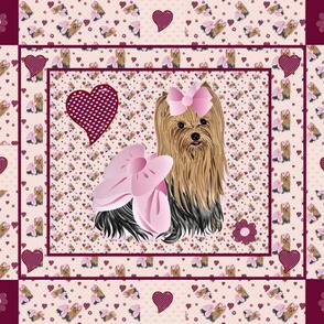 Yorkie Savannah's Pink Hearts Quilt
