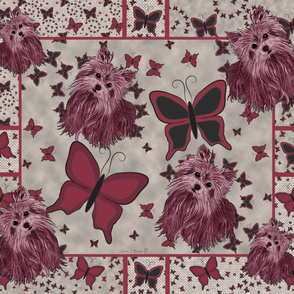 Yorkie -  More Butterfly Quilt Panel