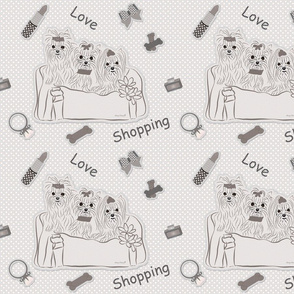 Yorkies Love Shopping Pillows