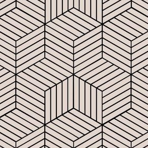 Geometric Illusion Fabric in Cream and Black