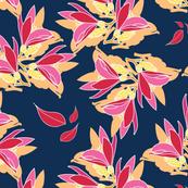 Lemon blossoms on navy