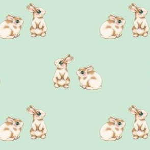Easter Bunnies, Brown Spots on Pale Duckegg Green