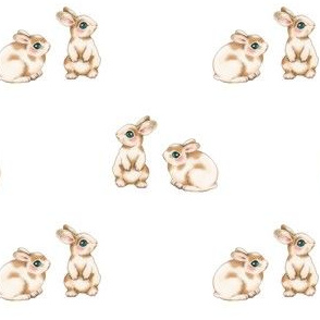 Easter Bunnies, Brown Spots on White