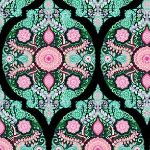Pink, Green and Black Doodle Pattern