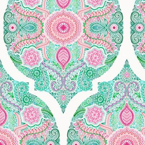 Pink and Green Doodle Moroccan