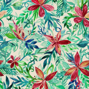 Vintage Toned Tropical Jungle Floral