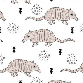 Cute quirky armadillo cactus woodland fun wester theme kids animals pattern and geometric details scandinavian style pastel black and white